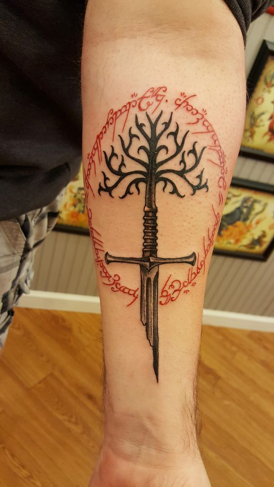 Another lord of the rings sword narsil tattoo on the inner arm
