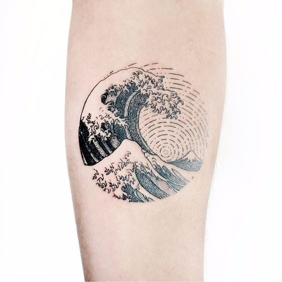 Another dotwork circular japanese style wave tattoo