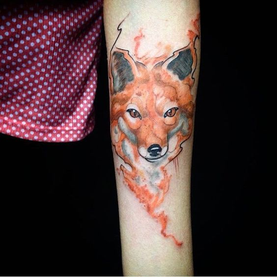 Another watercolor fox head tattoo on the left inner arm
