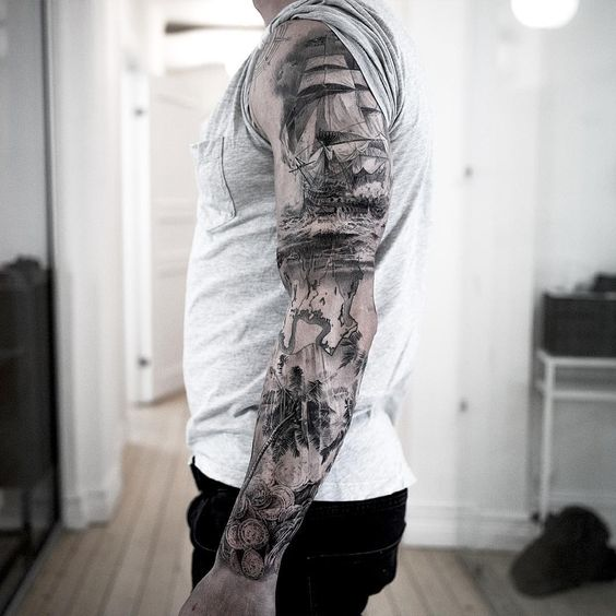 Awesome oceanic theme full sleeve tattoo