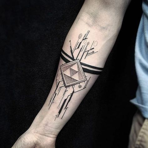 Black abstract dot work style triforce tattoo