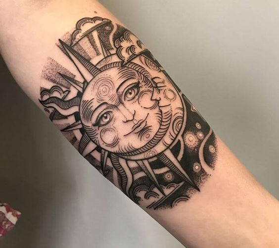 Black circular dotwork style tattoo of a sun and moon