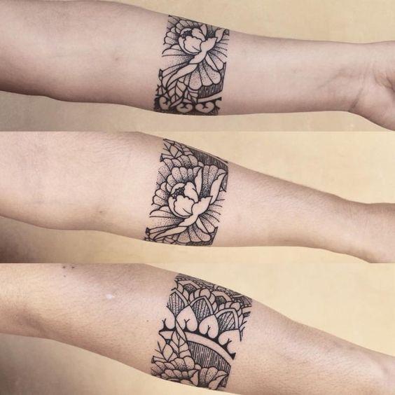 Black floral armband