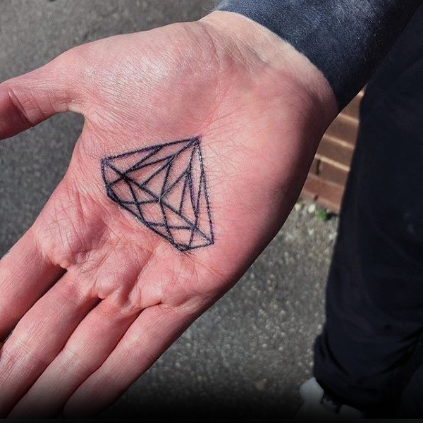 Black outline diamond tattoo on the right palm