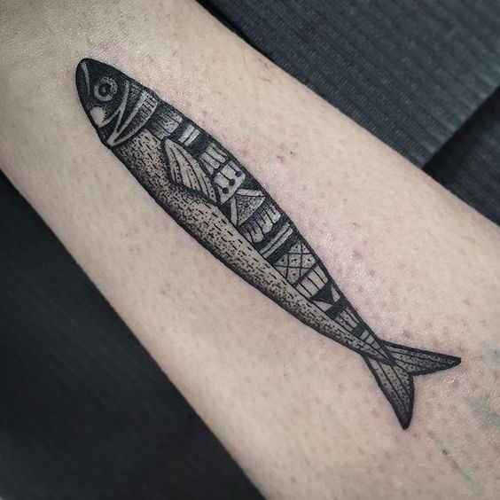 Black sardine fish tattoo