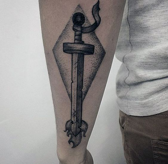 Black work adventure time sword tattoo