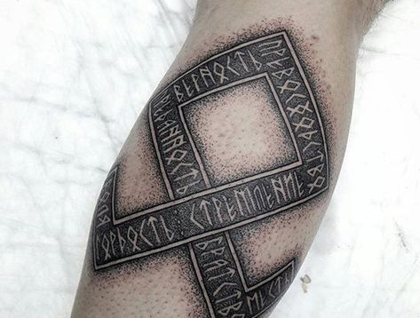 Blackwork rune tattoo