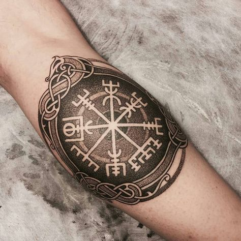 Blackwork vegvisir tattoo on the arm