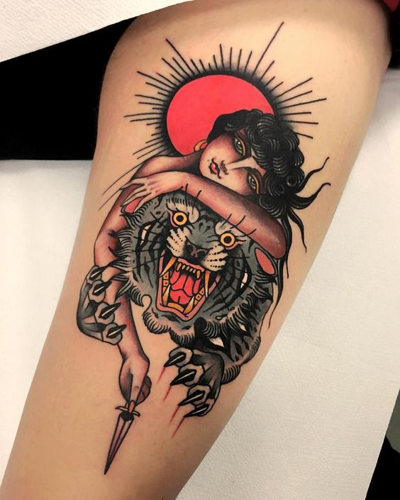 Blood moon and lady with a tiger