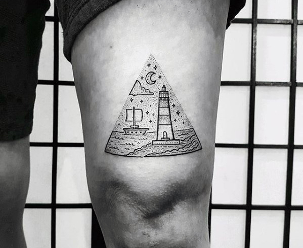 Boat and lightouse in a triangle tattoo