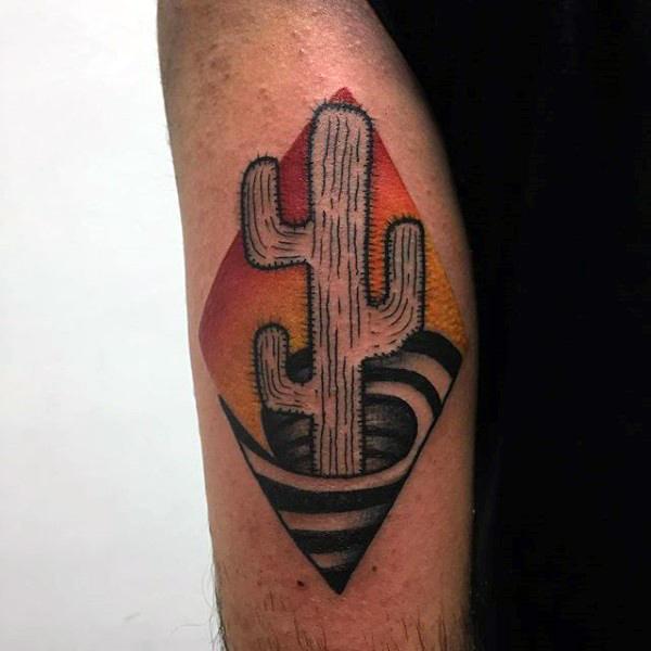 Cactus in a swirl tattoo