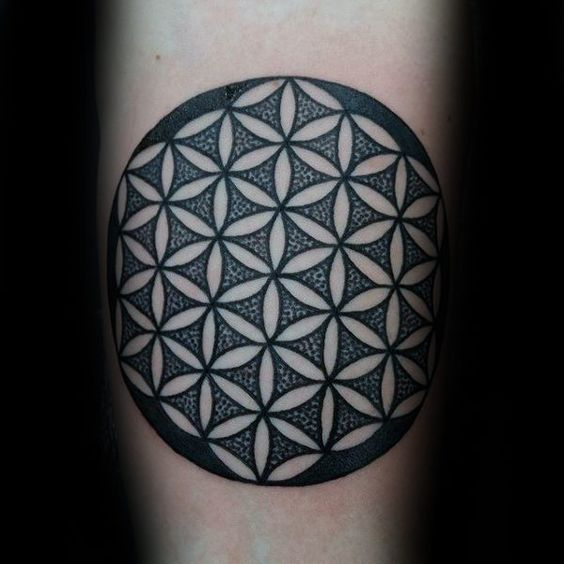 Circle dotted flower of life tattoo