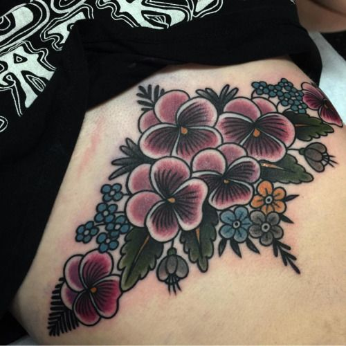 Colorful flowers on the sternum