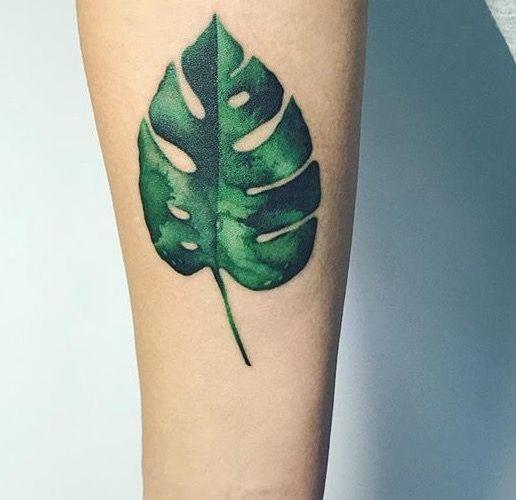 Colorful monstera leaf tattoo by masha sgushonka