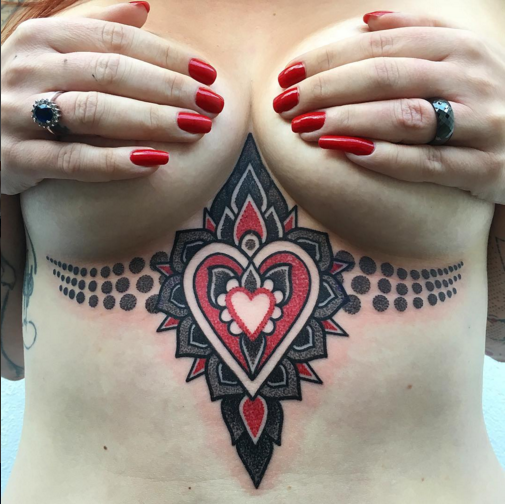 Colorful sternum tattoo