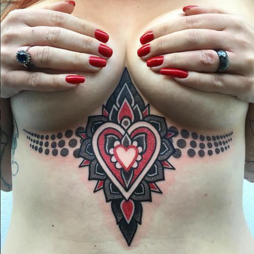 Colorful sternum tattoo