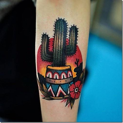 Crisp tattoo of a cactus in a mexican style pot