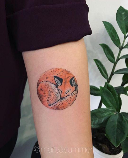 Curled up fox tattoo on the left inner arm by mariya summer