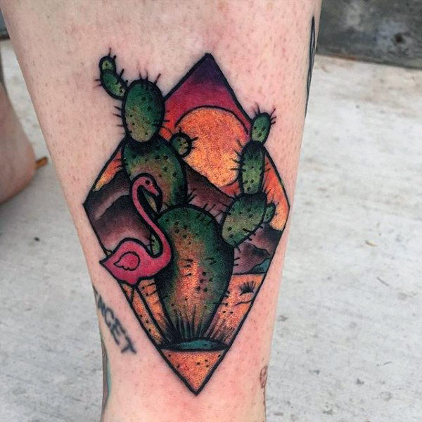 Desert landscape with a cactus and flamingo tattoo