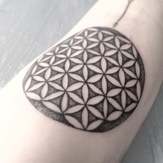 Dotwork flower of life tattoo