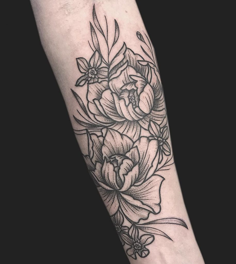 Dotwork two peonies tattoo on the arm