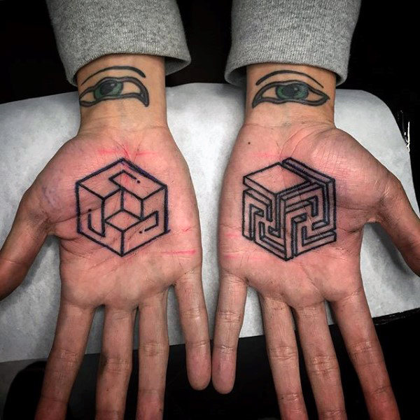 Endless cubes palm tattoo