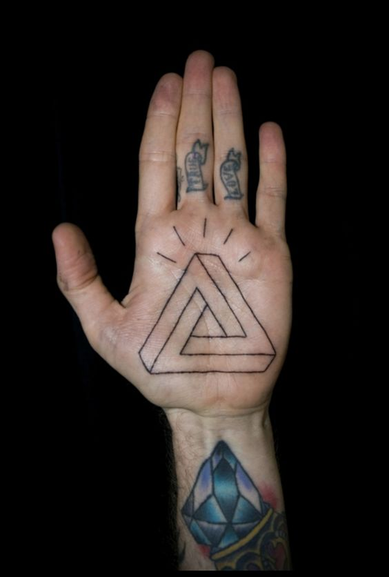 Endless triangle tattoo on the palm