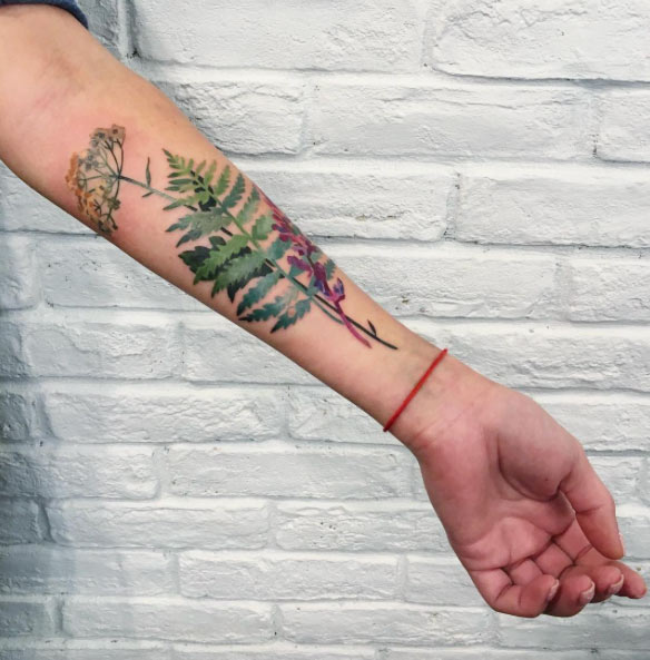 Fern and other wildflowers tattoo on the left inner arm