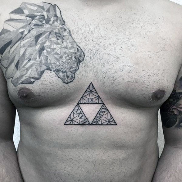Floral triforce tattoo on the sternum