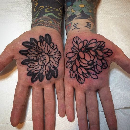 Flower tattoos on both palms