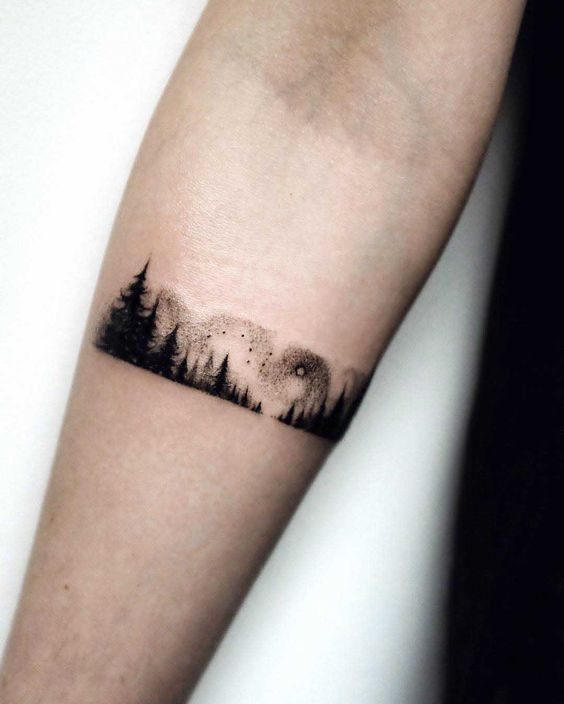 Forest landscape armband tattoo