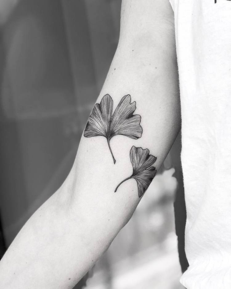 Ginkgo biloba leaves tattoo on the right arm