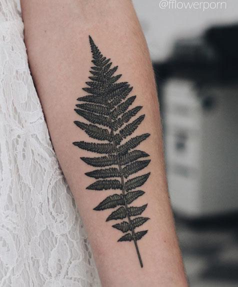 Gorgeous black fern tattoo on the left arm by olga nekrasova
