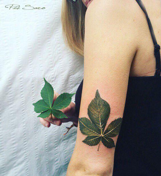 Green chestnut leaf tattoo by pis saro