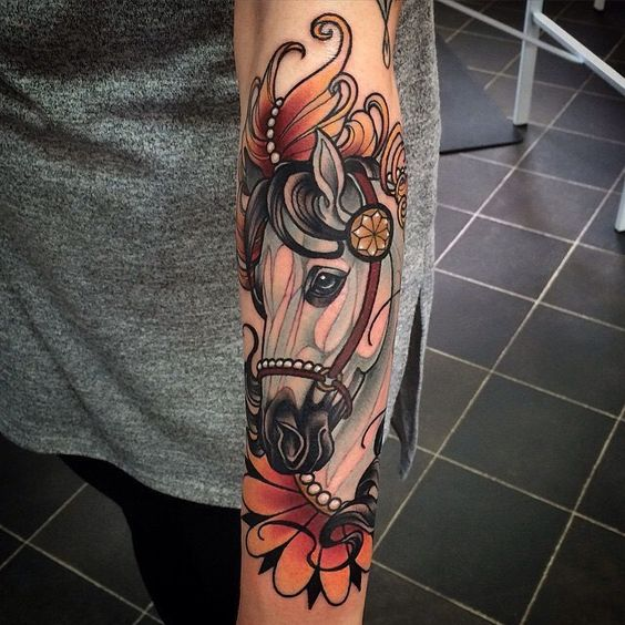Horse tattoo in the neo traditional style