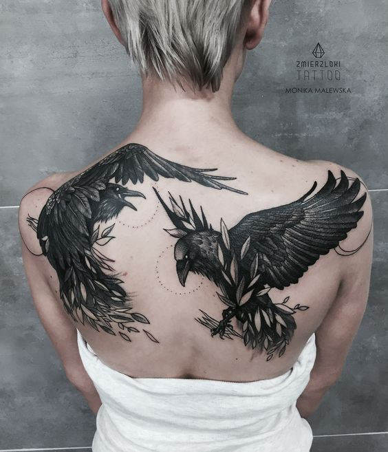 Huginn and muninn tattoo on the back