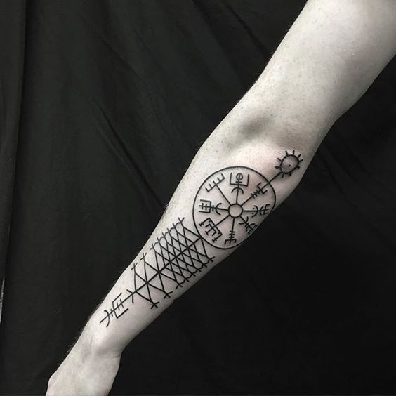 Icelandic stave vegvisir tattoo on the left forearm