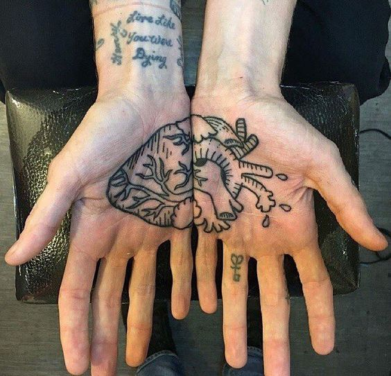 Matching anatomical heart on both palms