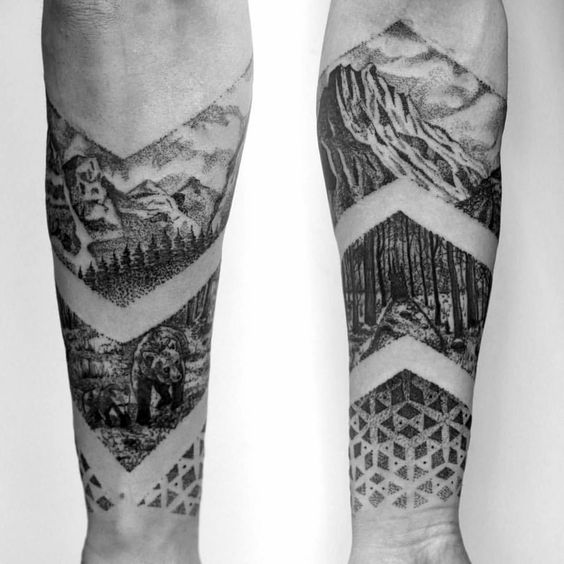 Negative space nature landscape tattoo on the arm