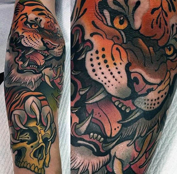 Neo traditional angry tiger tattoo on the left calf