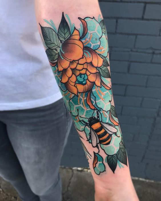 Neo traditional bee and flower tattoo