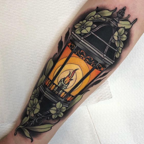 Neo traditional lantern tattoo