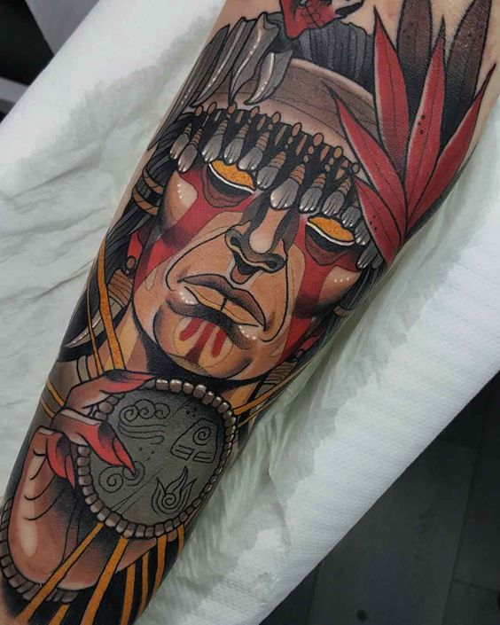 Neo traditional native american shaman tattoo