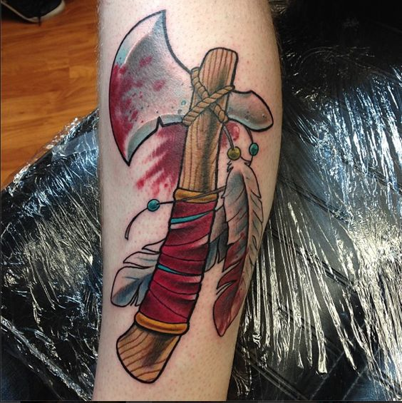 Neo traditional tomahawk tattoo