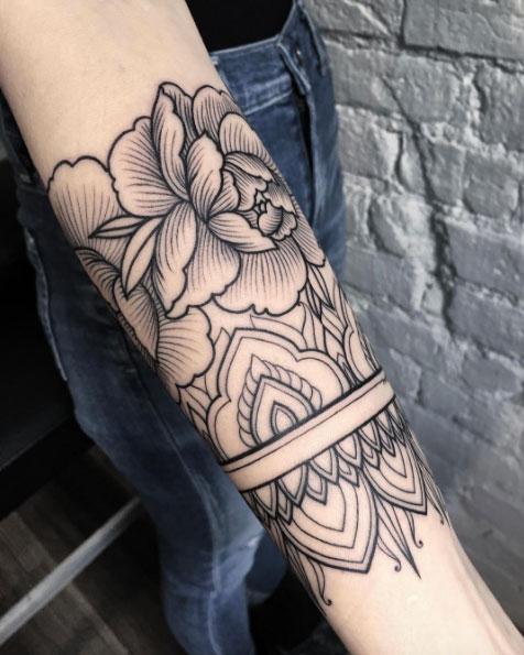 Outline peonies armband tattoo by sasha masiuk
