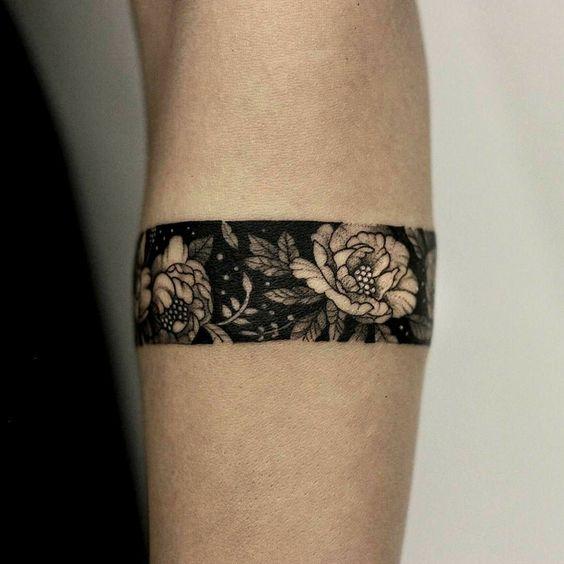 Peony flower armband tattoo