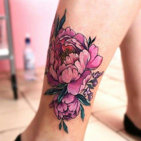 Pink peony on ankle tattoo