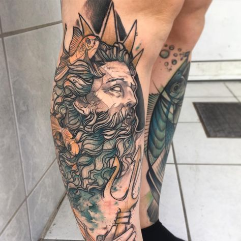 Poseidon tattoo on the right calf