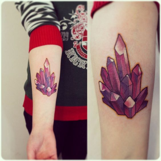Purple crystal cluster tattoo on the arm