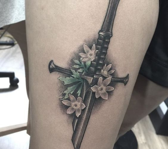 Realistic lord of the rings sword narsil tattoo